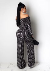 Polka Dot Print Slash-Neck Sashes Wide Leg Jumpsuits WZ-8254