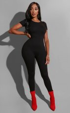 Solid Short Sleeve High Waist Skinny Jumpsuits MZ-2519