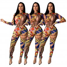 Geometric Printed Bodysuit And Pants 2 Piece Sets SHD-9209