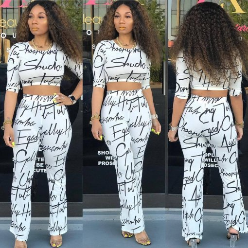 Letter Print Three Quarter Sleeve Long Pants Suit ARM-8077