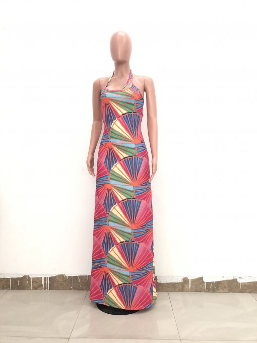 Sexy Printed Straps Backless Long Maxi Dress TR-942