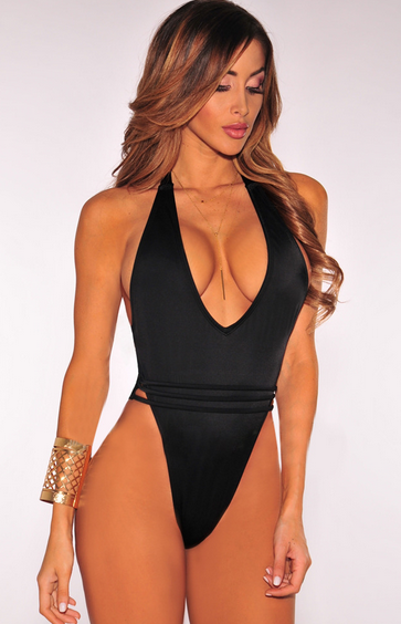 Black Backless One Piece Swimsuit QM-S0402