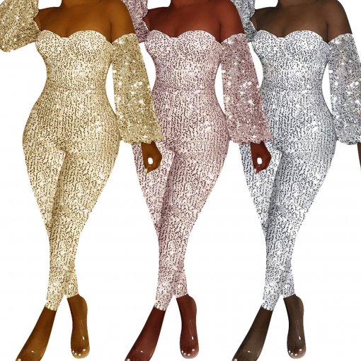Plus Size Sexy Sequins Off Shoulder Bodycon Jumpsuits ME-331