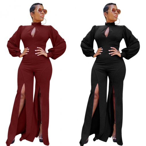 Elegant Long Sleeve Split Leg One Piece Jumpsuits MOY-5115
