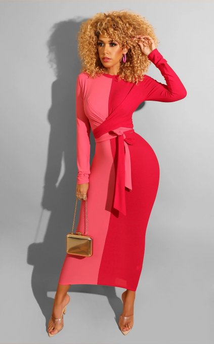 Color Spliced Long Sleeve Sashes Maxi Dresses CQ-5276