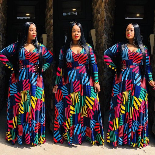 Plus Size 4XL Geometric Print V Neck Long Sleeve Maxi Dress OMF-016