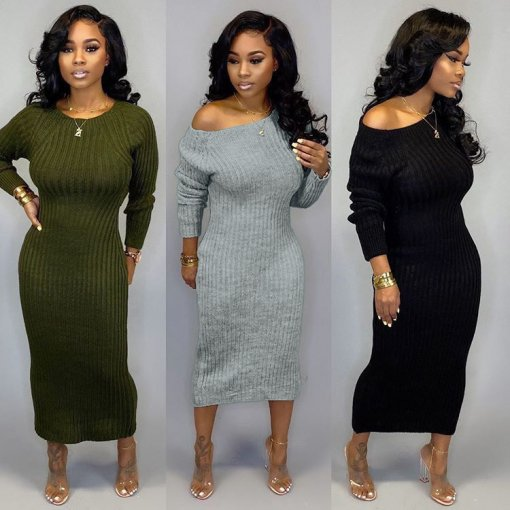 Solid Color Long Sleeve Bodycon Maxi Dresses TR-982