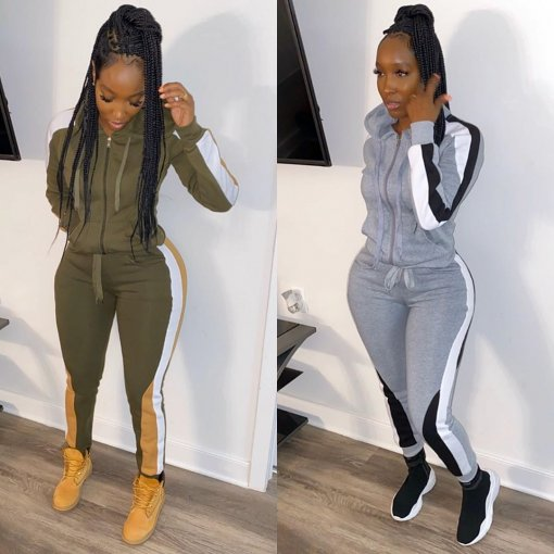 Plus Size Casual Hooded Zipper Two Piece Sets BLX-7340