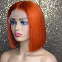 YouMi Hair Pre Plucked Lace Front Wig And Full Lace Wig BOB STRAIGHT Orange Color Human Hair wigs (YM0100)