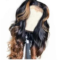 Youmi Human Virgin Hair Ombre Honey Blonde Pre Plucked Lace Front Wig And 5x5Transparent Lace Wig For Black Woman Free Shipping (YM0003)