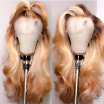 Youmi Human Virgin Hair Ombre Honey Blonde Pre Plucked Lace Front Wig And Full Lace Wig For Black Woman Free Shipping (YM0009)