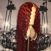 Youmi Human Virgin Hair Red Ombre Wave Pre Plucked Curly 5x5 Lace Front Wig And Full Lace Wig For Black Woman Free Shipping (YM0015)
