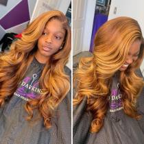 Youmi Human Virgin Hair Ombre Wave Pre Plucked Lace Front Wig And 5x5Transparent Lace Wig For Black Woman Free Shipping (YM0019)