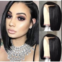 YouMi Hair Pre Plucked Lace Front Wig And 5x5Transparent Lace Wig BOB STRAIGHT Natural Color Human Hair wigs (YM0023)