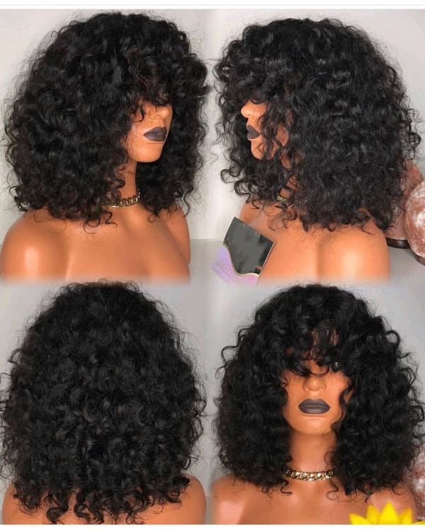 YouMi Human Virgin Hair Curly Pre Plucked 13*6Lace Front Wig  For Black Woman Free Shipping (YM0048)
