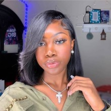 Youmi Human Virgin Hair 13X6 Bob Pre Plucked Lace Front Wig And Full Lace Wig For Black Woman Free Shipping (YM0053)