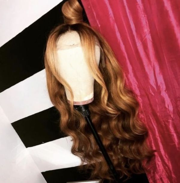 Youmi Human Virgin Hair Pre Plucked Ombre Wave Lace Front Wig And 5x5Transparent Lace Wig For Black Woman Free Shipping (YM0057)