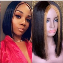 Youmi Human Virgin Hair Pre Plucked Ombre Bob Lace Front Wig And 5x5Transparent Lace Wig For Black Woman Free Shipping (YM0080)