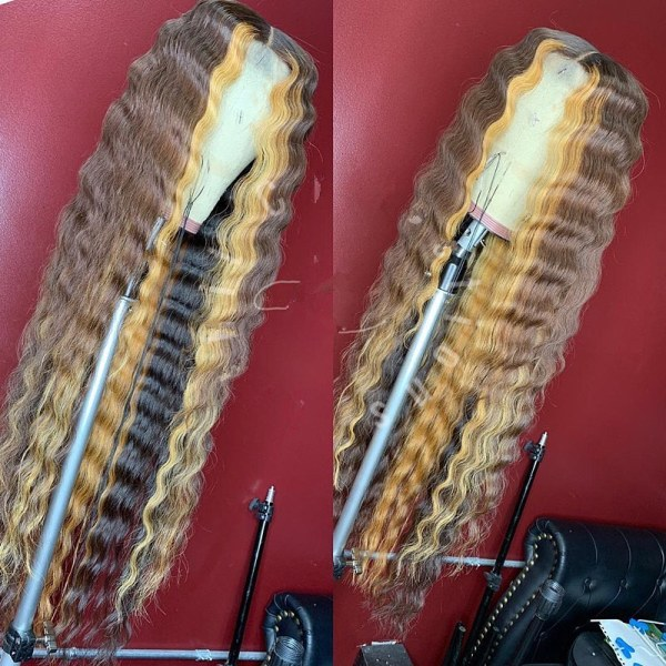 Youmi Human Virgin Hair Pre Plucked Ombre Lace Front Wig And 5x5 Full Lace Wig For Black Woman Free Shipping (YM0134)