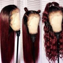 Youmi Human Virgin Hair Pre Plucked 1b/99j Lace Front Wig And Full Lace Wig For Black Woman Free Shipping (YM0147)