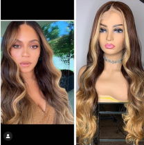 Youmi Human Virgin Hair Pre Plucked Ombre Wave Lace Front Wig And 5x5Transparent Lace Wig For Black Woman Free Shipping (YM0060)