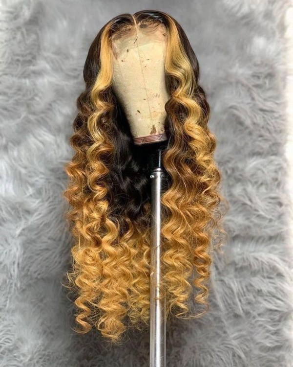Youmi Human Virgin Hair Pre Plucked Ombre Lace Front Wig And 5x5Transparent Lace Wig For Black Woman Free Shipping (YM0224)