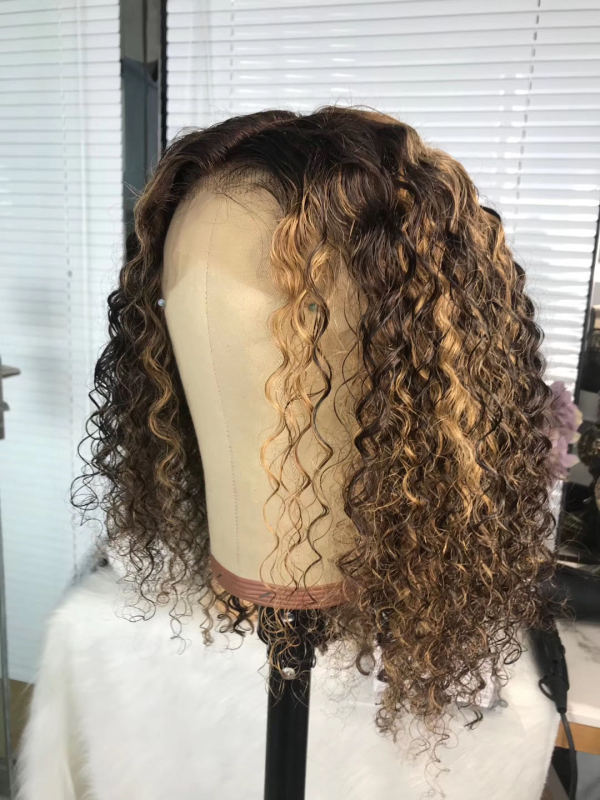 Youmi Human Virgin Hair Pre Plucked Ombre Curly Lace Front Wig And Full Lace Wig For Black Woman Free Shipping (YM0229)