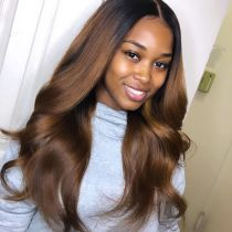 Youmi Human Virgin Hair Pre Plucked Ombre Lace Front Wig And 5x5Transparent Lace Wig For Black Woman Free Shipping (YM0233)