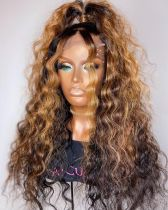 Youmi Human Virgin Hair Pre Plucked Ombre Lace Front Wig And 5x5Transparent Lace Wig For Black Woman Free Shipping (YM0241)