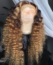 Youmi Human Virgin Hair Pre Plucked Ombre Lace Front Wig And 5x5Transparent Lace Wig For Black Woman Free Shipping (YM0251)
