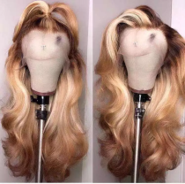 Youmi Human Virgin Hair Ombre Honey Blonde Pre Plucked Lace Front Wig And 5x5Transparent Lace Wig For Black Woman Free Shipping (YM0009)