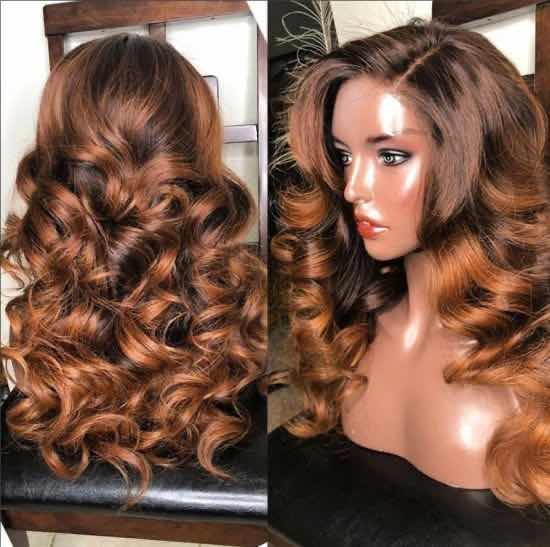 Youmi Human Virgin Hair Pre Plucked Ombre Lace Front Wig And 5x5Transparent Lace Wig For Black Woman Free Shipping (YM0262)