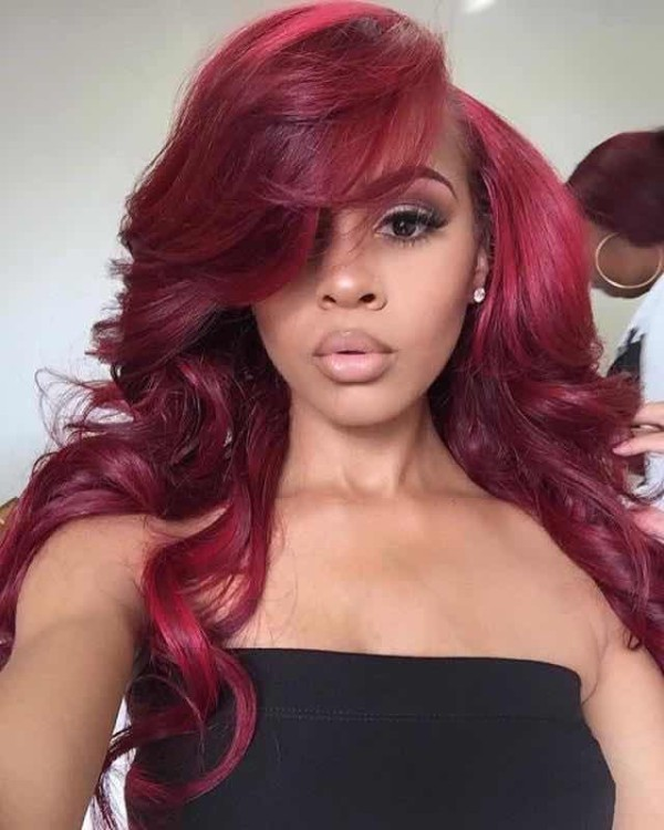 Youmi Human Virgin Hair Pre Plucked 99J Ombre Wave Lace Front Wig And 5x5Transparent Lace Wig For Black Woman Free Shipping (YM0058)