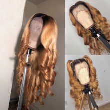 Youmi Human Virgin Hair Pre Plucked Ombre Lace Front Wig And 5x5Transparent Lace Wig For Black Woman Free Shipping (YM0261)