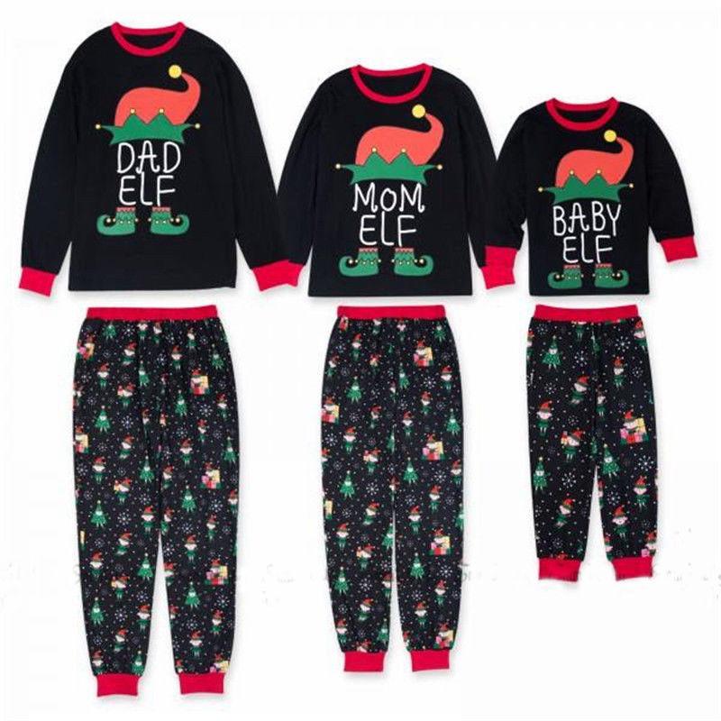 Christmas Family Matching Santa Pajamas Set Adult Kids Sleepwear Nightwear PJs