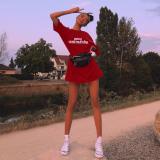 Red Letter Print Mini T Shirt Dress HM-6023