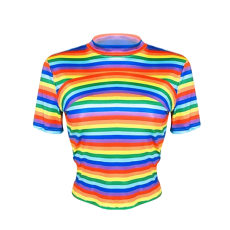 Plus Size Rainbow Stripe Short Sleeve Slim Fit T Shirts YMT-6072