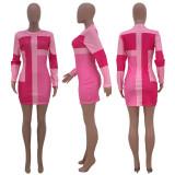 Contrast Color Long Sleeve Mini Dresses CH-8030