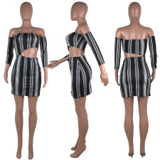 Sexy Striped Off Shoulder Hollow Out Mini Dresses CH-8017