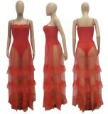 Red Mesh Ruffle Strap Long Dress AL-7577