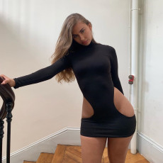 Black Sexy Turtleneck Hollow Out Mini Bodycon Club Dress NIK-007