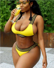 Golden Print Sexy 2 Pcs Bikini Set LSL-6164