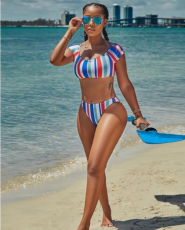 Multicolor Striped Push Up Tankinis Swimwear LSL-6106