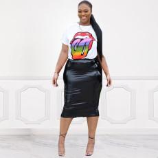 Lips Print T Shirt And PU Leather Skirt 2 Piece Sets KSN-5055