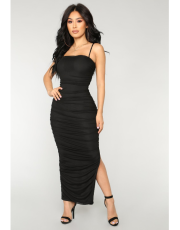 Black Spaghetti Strap Split Ruched Maxi Dress LS-0222