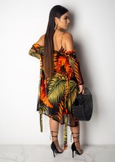 Sexy Printed 2pcs Long Cardigan  Spaghetti Straps Midi Dress JH-108