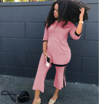 Pink 2 Pcs Side Split T-Shirt+Wide Leg Pant Suit OY-5272
