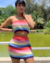 Rainbow Stripes Tube Tops And Mini Skirt 2 Piece Suit CL-6010