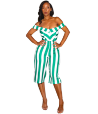 Off Shoulder Stripe Playsuit YIS-603