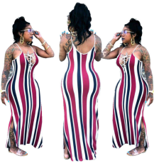 Red Striped Spaghetti Straps Maxi  Dress YSF-153